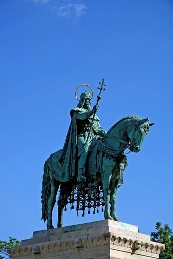 Stock Photo: 1848-29516 Statue of King Stephen, Stephen Rex, 977_1038, Budapest, Hungary, Europe