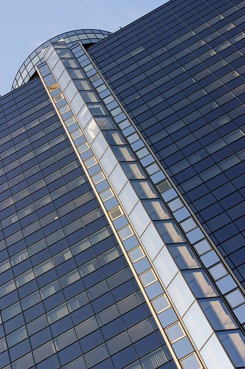 Facade of the BCN_Skyscraper with well elevator shaft made of glass, Frankfurt Main, Hesse, Germany : Stock Photo