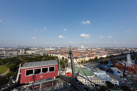 Stock Photo: 1848-2983 View from the giant wheel at Prater, Vienna, Austria, Europe
