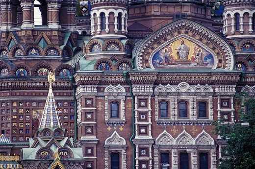 Cathedral of the Resurrection of Christ, Church of the Savior on Blood, detail of the facade, St. Petersburg, Russia, Eastern Europe, Europe : Stock Photo