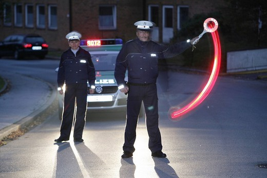 New blue police uniforms worn by 1400 male and female North Rhine_Westphalian police officers, Duesseldorf, North Rhine_Westphalia, Germany, Europe : Stock Photo