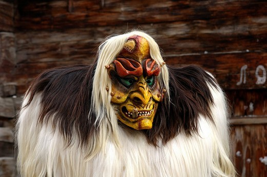 Tschaeggaetae, Carnival masks, Wiler, Loetschental, Valais, Switzerland : Stock Photo