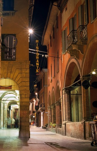 Stock Photo: 1848-30443 Street illuminated at night, Bologna, Emilia_Romagna, Italy