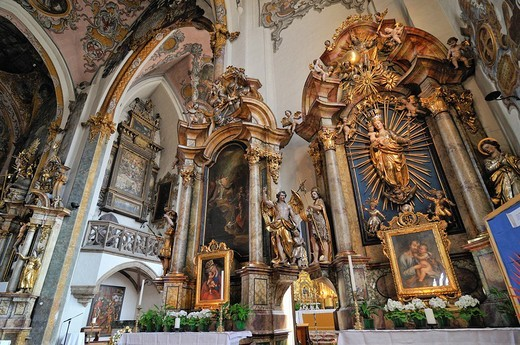 Stock Photo: 1848-30456 Ornate interior of the Nikolauskirche, St. Nicholas Church in Hall, Tirol, Austria
