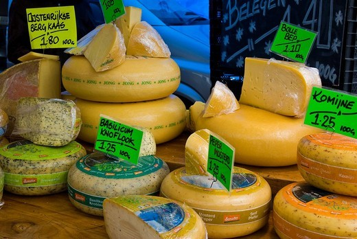 Cheese sold at a market, Amsterdam, Netherlands, Europe : Stock Photo