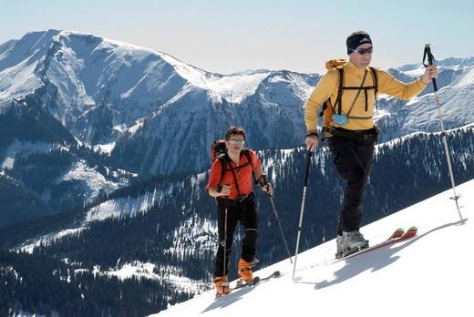 Ski tour to the Stadelfeld Alpine Pasture, Gesaeuse National Park, Styria, Upper Austria, Europe : Stock Photo