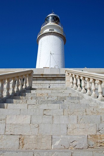 View up the stairs to the lighthouse at Cape Formentor, Majorca, Balearic Islands, Spain, Europe : Stock Photo