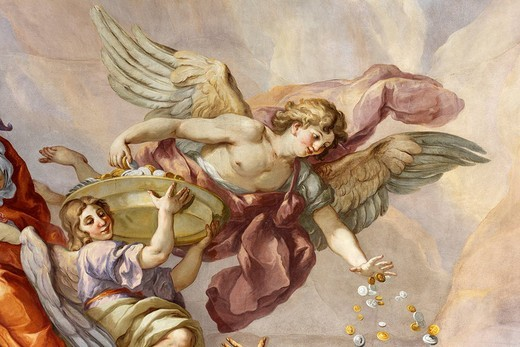 Stock Photo: 1848-30808 Frescos by Johann Michael Rottmayr, cupola frescos, St. Charles Borromeo Church, Vienna, Austria, Europe