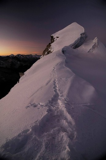 Stock Photo: 1848-30904 Southern summit of Vallunaraju before sunrise, Cordillera Blanca, Andes, Ancash province, Peru, South America