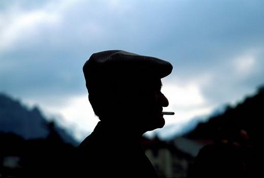 Profile of a Corsican with cigarette, Corte, Corsica, France, Europe : Stock Photo