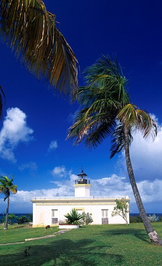 Stock Photo: 1848-30951 Lighthouse, Faro de Puntas Mulas, Vieques Island, Puerto Rico, Caribbean