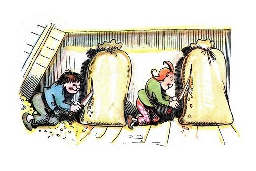 Book illustration, Max and Moritz slitting grain sacks, Max and Moritz, A Story of Seven Boyish Pranks, Heinrich Christian Wilhelm Busch, 1865 : Stock Photo