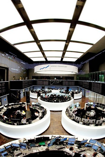 Stock Photo: 1848-31167 Main trading room of the Frankfurt Stock Exchange by Deutsche Boerse AG in Frankfurt am Main, Hesse, Germany, Europe