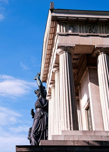 Stock Photo: 1848-31319 Statue of Bavaria, by Ludwig von Schwanthaler, in front of the Hall of Fame on the Theresienwiese in Munich, Bavaria, Germany, Europe