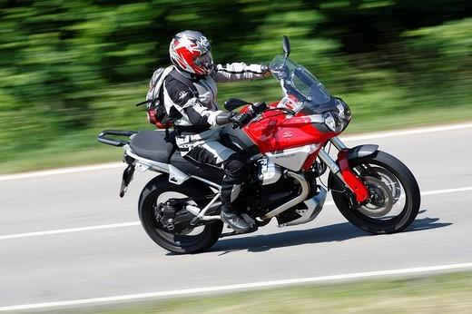 Moto Guzzi Stelvio 1200 motorcycle in motion : Stock Photo