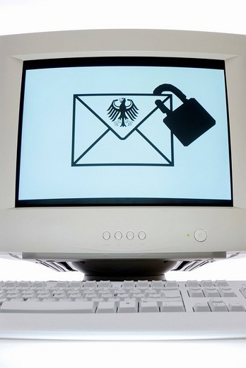 Stock Photo: 1848-31573 Envelope icon with a federal eagle and a padlock on a computer monitor, DE_mail
