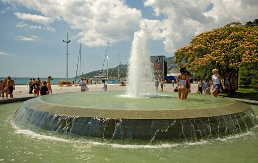 Promenade and Boardwalk with Fountain, Jalta, Crimea, Ukraine, South_Easteurope, Europe, : Stock Photo