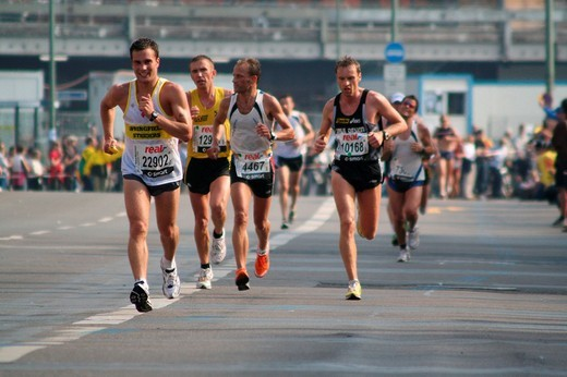 Runner during the berlin marathon : Stock Photo