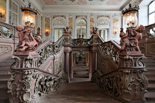 Stock Photo: 1848-32027 Palace of the prince elector, rococo staircase, Trier, Rhineland_Palatinate, Germany