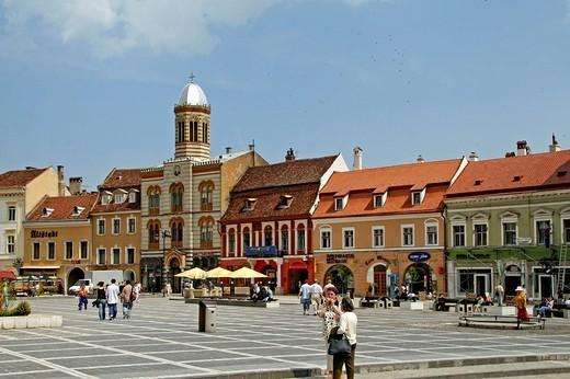 Orthodox Church and historic buildings in the centre of Brasov, Transylvania, Romania, Europe : Stock Photo