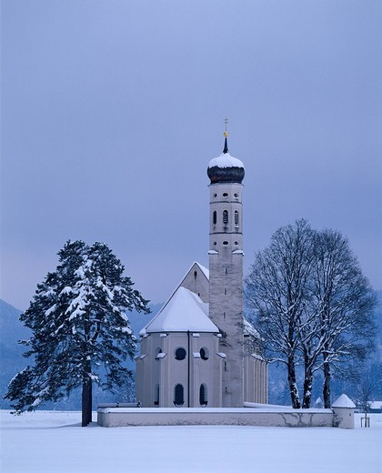 Stock Photo: 1848-32353 St. Coloman´s Church, pilgrimage site near Fuessen, Allgaeu, Bavaria, Germany, Europe