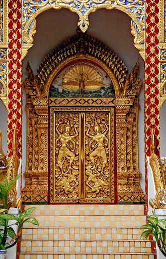 Door with gold adornments, Wat Phrathat Doi Suthep, temple enclosure on the holy mountain, Chiang Mai, Thailand, Asia : Stock Photo