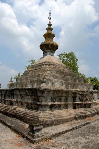 Buddhist, stupa, That Ong Hai Ou Neua, Gnot Ou, Phongsali province, Laos, Southeast Asia : Stock Photo