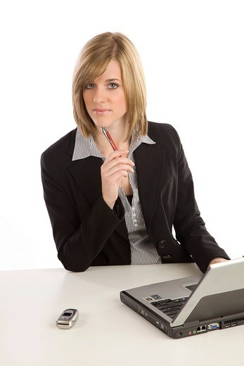 Young woman at laptop : Stock Photo