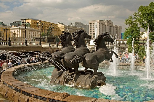 Stock Photo: 1848-33668 Park and Horses fountain in Alexander Garden at the Maneschnaja road, Moscow, Russia, East Europe, Europe