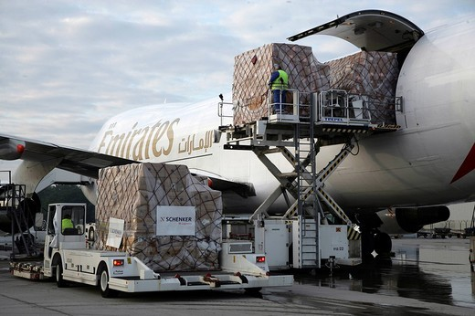 Air_freight aircraft Boeing 747 from Emirates at the Frankfurt_Hahn Airport, Rhineland_Palatinate, Germany : Stock Photo