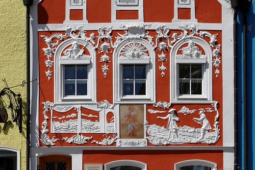 Rococo stucco facade by Johann Baptist Modler, Obernberg am Inn, Innviertel, Upper Austria, Austria, Europe : Stock Photo