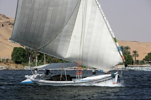 Felucca, traditional sailing boat on the river Nile, near Aswan, Egypt, Africa : Stock Photo