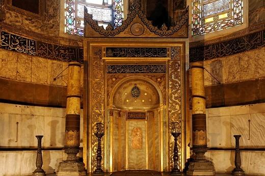 Muslim prayer niche, magnificently decorated, Hagia Sophia, Aya Sofya, Sultanahmet, Istanbul, Turkey : Stock Photo