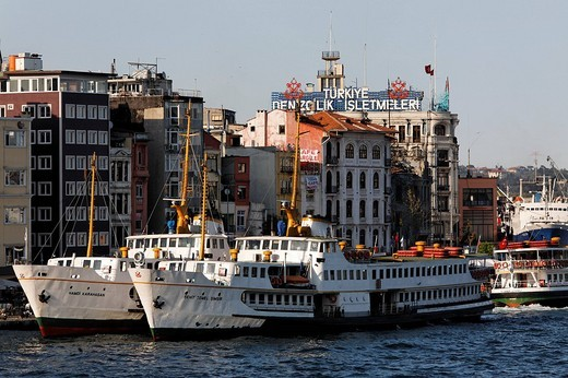 Stock Photo: 1848-3417 Old ferries at the Karakoey pier, Bosphorus shore, Istanbul, Turkey