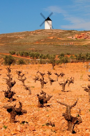 Stock Photo: 1848-34378 Windmill on the Cerro de San Antón near Alcázar de San Juan, Castilla_La Mancha Region, Spain
