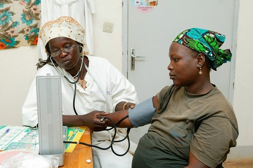 Female doctor examining a woman, prenatal testing, Garoua, Cameroon, Africa : Stock Photo