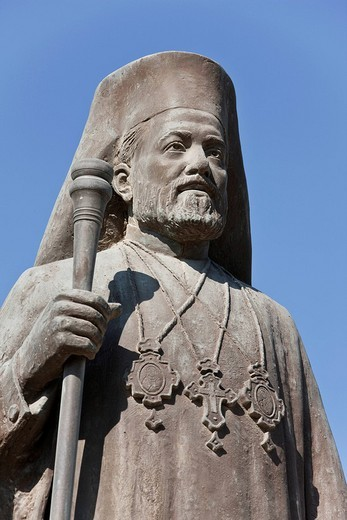 Statue in front of the modern Church of St. George, Agios Georgios, Larnaca, Southern Cyprus, Cyprus, Europe : Stock Photo