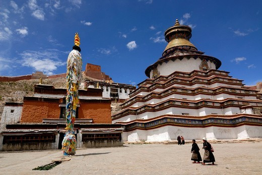 Gyantse Kumbum, walk_in mandala, and Pelkor Choede monastery with Tibetan pilgrims, elderly women, Gyantse, Tibet, China, Asia : Stock Photo