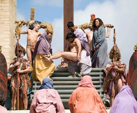 Passion_play on Good Friday, flight of stairs of La Seu Cathedral, Palma de Majorca, Balearic Islands, Spain, Europe : Stock Photo