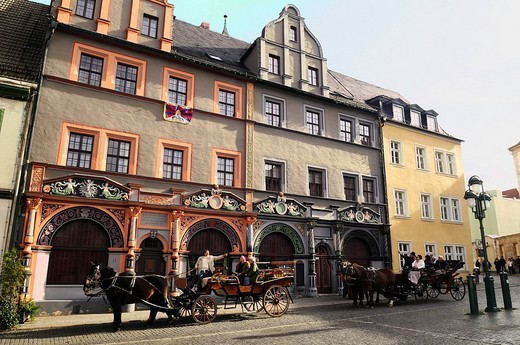 Cranachhaus, house of Lucas Cranach the Elder, carriages in front of it, Weimar, Unesco World Heritage Site, Thuringia, Germany : Stock Photo