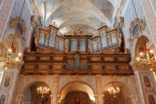 Organ in church, Stift Goettweig monastery, Wachau, Mostviertel region, Lower Austria, Austria, Europe : Stock Photo