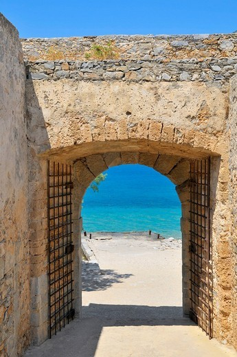 Stock Photo: 1848-35267 Gate in the city walls, Spinalonga Island, Kalidon, Eastern Crete, Crete, Greece, Europe