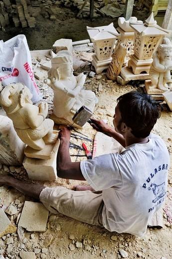 Stonecutter´s workshop, Sanur, Denpasar, Bali, Indonesia, Southeast Asia : Stock Photo