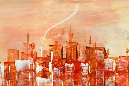 Skyline of Manhattan, New York, acrylic painting, artist Gerhard Kraus, Kriftel, Germany : Stock Photo