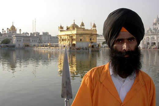 Stock Photo: 1848-35482 Temple guardian, Golden Temple, Amritsar, Punjab, India, South Asia