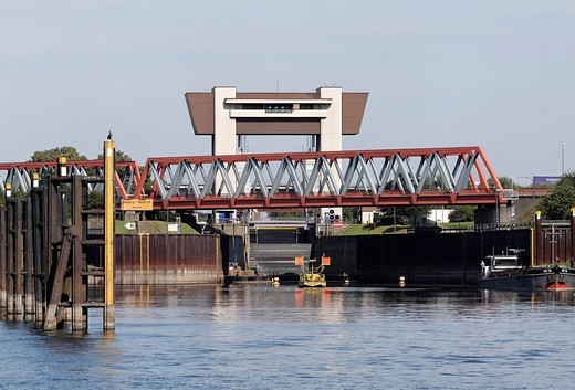 Rhein_Herne Canal, Meiderich Lock and railway bridge, Ruhr area, Duisburg, North Rhine_Westphalia, Germany, Europe : Stock Photo