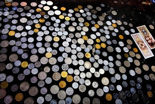 Donations, Jamkhang Chenmo monastery, Tashilhunpo, Tibet, Asia : Stock Photo