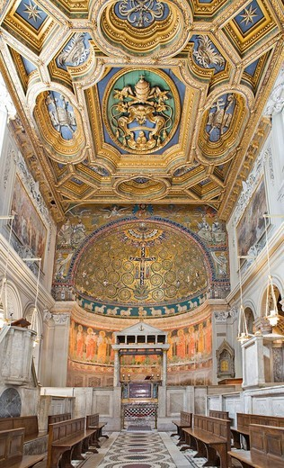 Nave with coffered ceiling and ciborium in San Clemente Church, Rome, Italy, Europe : Stock Photo