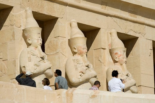 Stock Photo: 1848-36262 Statue of Osiris, second colonnade, Temple of Hatshepsut, West Bank, Luxor, Nile Valley, Egypt, Africa