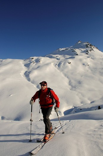 Ski hiker on a tour up Mount Tristkopf, Kelchsau, Tyrol, Austria, Europe : Stock Photo